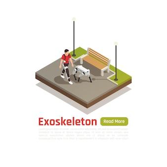Fondo isométrico de tecnologías biónicas con hombre en traje de exoesqueleto y perro robótico caminando en el parque de la ciudad