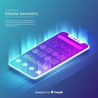 Fondo isométrico y tecnológico de teléfono móvil con estilo degradado