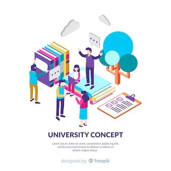 Fondo isométrico de universidad con estudiantes
