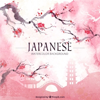 Fondo japonés de acuarela con flores