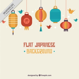 Fondo japonés con farolillos planos
