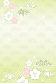 Fondo japonés con flores y plantas de celebración tradicional