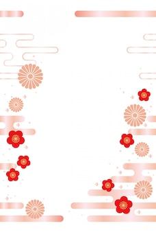 Fondo japonés con flores tradicionales y nubes