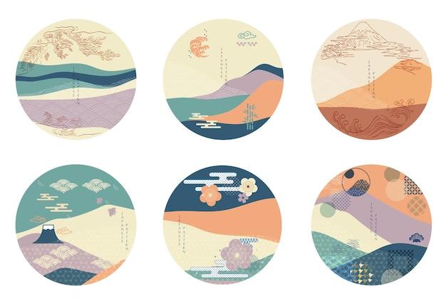 Fondo japonés en forma de círculo. plantilla de elemento asiático con fondo de paisaje abstracto.