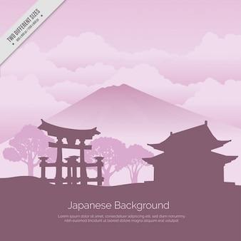 Fondo japonés con templo