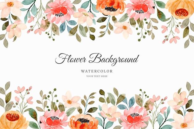 Fondo de jardín de flores de naranja rosa acuarela