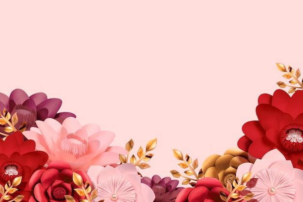 Fondo de jardín de flores de papel romántico en estilo 3d