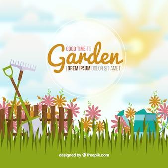 Fondo de un jardín idílico