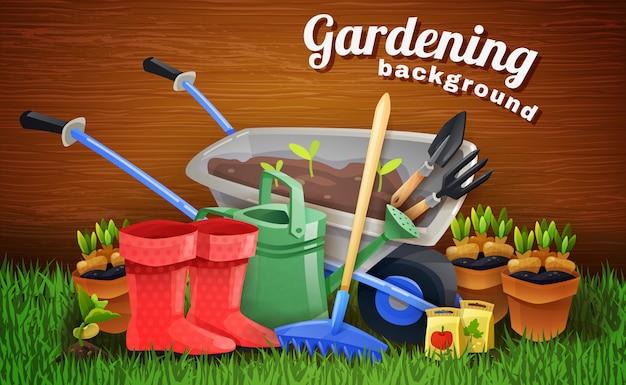 Fondo de jardinería colorido con herramientas de granja