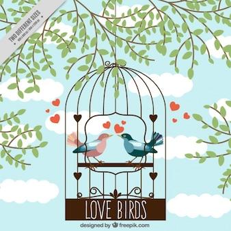 Fondo de jaula con pájaros enamorados