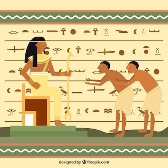 Fondo de jerogíficos egipcios con diseño plano