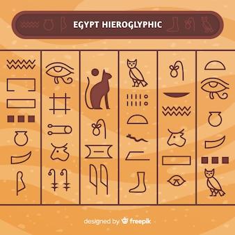 Fondo de jeroglíficos del antiguo egipto con diseño plano