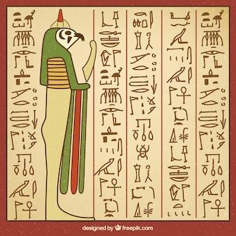 Fondo de jeroglíficos egipcios dibujados a mano