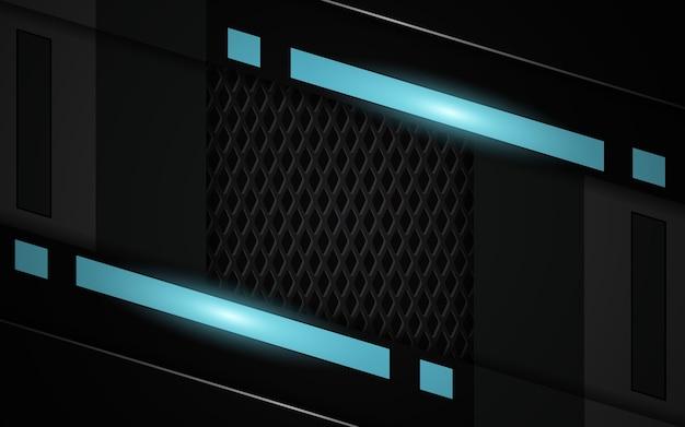 Fondo de juego abstracto futurista negro y azul