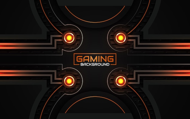 Fondo de juego abstracto futurista negro y naranja claro
