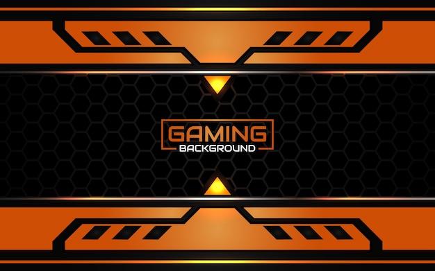 Fondo de juego abstracto futurista negro y naranja