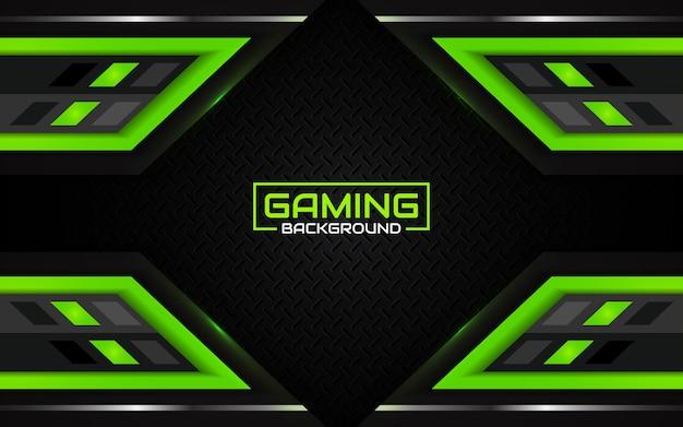 Fondo de juego abstracto futurista negro y verde