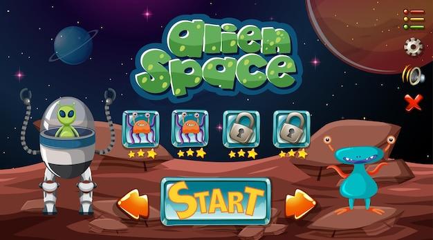Fondo de juego espacial alienígena