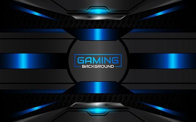 Fondo de juego futurista abstracto negro y azul claro