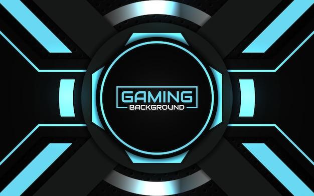 Fondo de juego futurista abstracto negro y azul