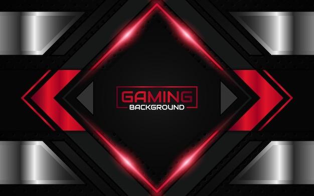 Fondo de juego futurista abstracto negro y rojo claro