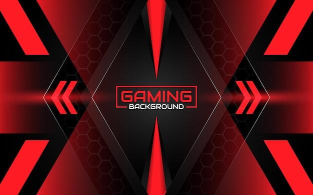Fondo de juego futurista abstracto negro y rojo