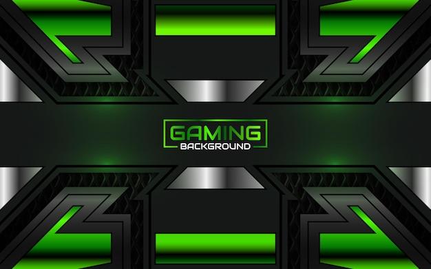Fondo de juego futurista abstracto negro y verde claro