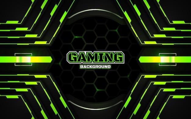 Fondo de juego futurista abstracto negro y verde