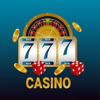 Fondo de juego de juego de casino con máquina tragamonedas y ruleta