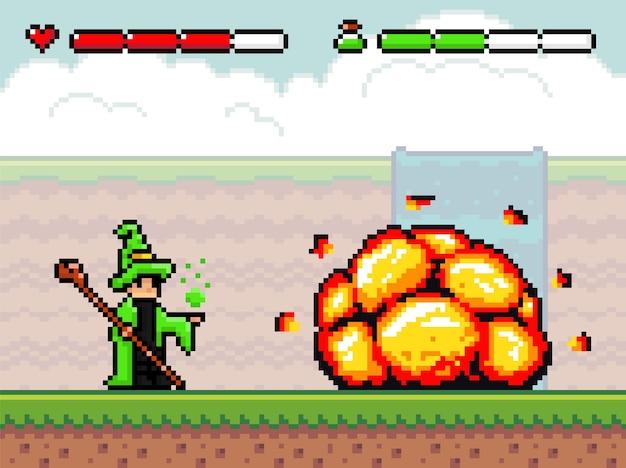 Fondo de juego de pixel art con asistente y explosión. escena con plataformas de tierra, bang, cascada en la niebla, cielo nublado, bomba y mago con palo
