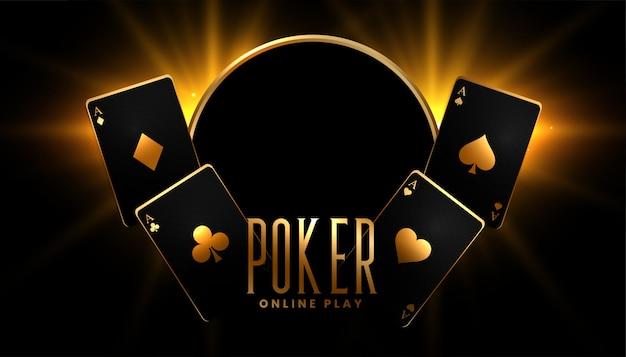 Fondo de juego de póker de casino en colores negro y dorado