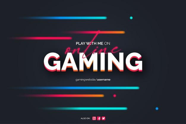Fondo de juegos en línea con líneas de neón