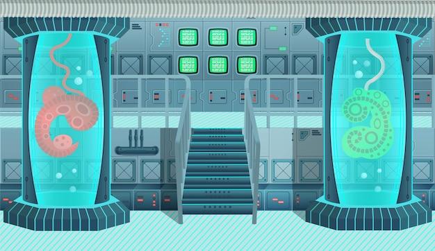 Fondo para juegos y nave espacial de aplicaciones móviles. interior de nave espacial, laboratorio. ilustración de dibujos animados.