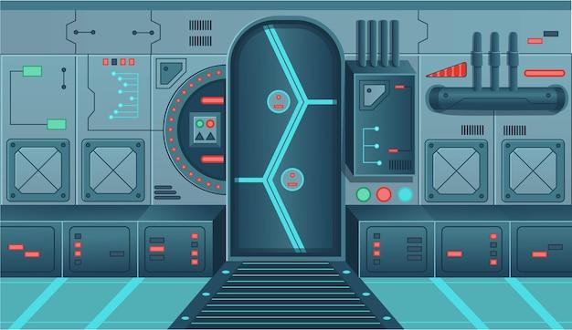 Fondo para juegos y nave espacial de aplicaciones móviles.