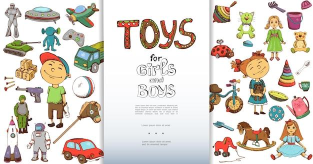 Fondo de juguetes infantiles dibujados a mano