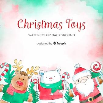 Fondo de juguetes de navidad en acuarela