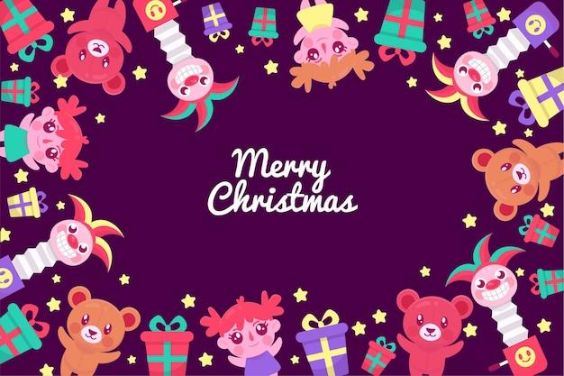 Fondo de juguetes de navidad dibujados a mano