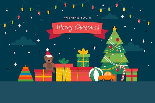 Fondo de juguetes de navidad en diseño plano