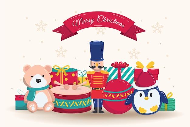 Fondo de juguetes de navidad de diseño plano