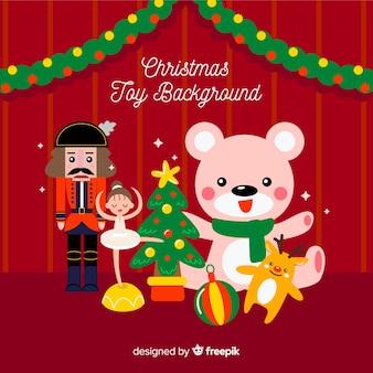 Fondo juguetes navidad plano
