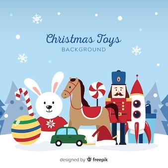 Fondo de juguetes navideños