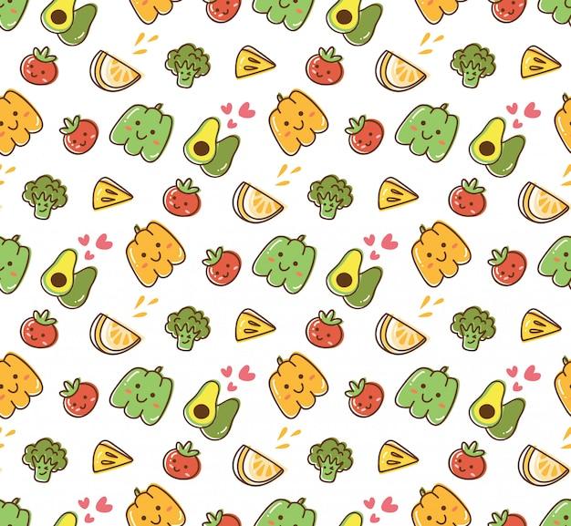 Fondo kawaii de frutas y verduras