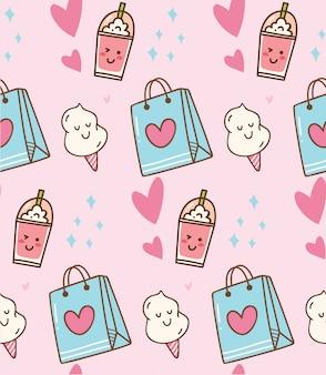 Fondo kawaii rosa con bolsa de regalo y algodón de azúcar