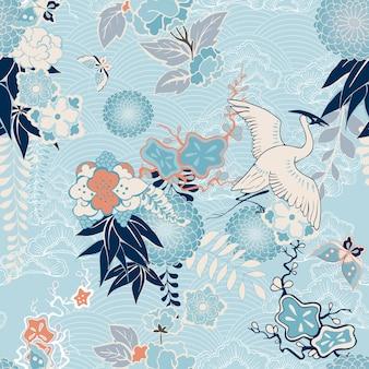 Fondo kimono con grúa y flores.