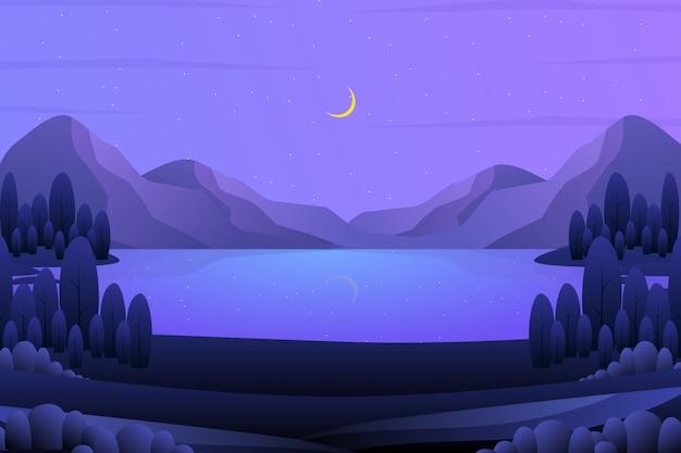 Fondo de ladera con cielo púrpura y la ilustración del paisaje del árbol