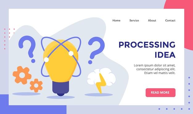 Fondo de lámpara de bombilla de idea de procesamiento de campaña de engranajes para banner de plantilla de página de inicio de página de inicio de sitio web web con moderno