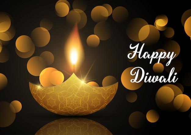 Fondo de lámpara diwali con luces bokeh