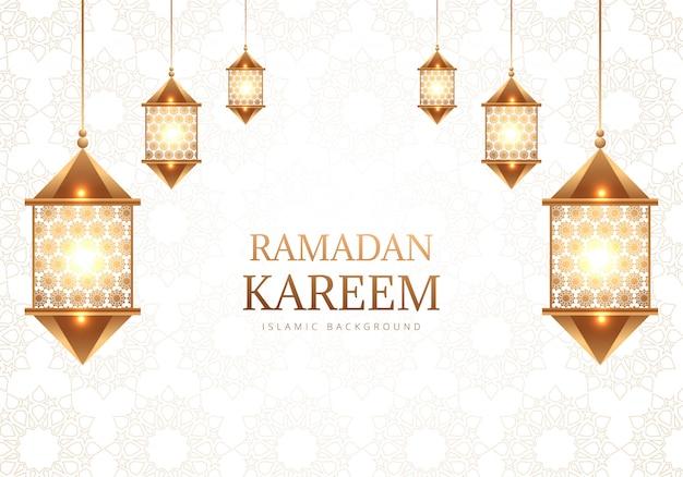 Fondo de lámparas árabes decorativas de ramadán kareem