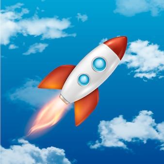 Fondo con lanzamiento retro de cohetes espaciales