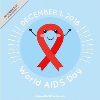 Fondo con lazo rojo adorable del día mundial del sida